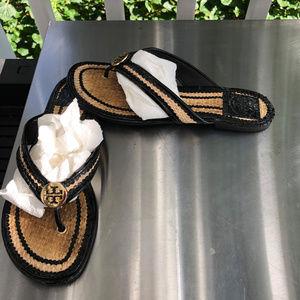 Tory Burch THORA Patent Straw Sandals Flip Flop